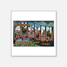 Vintage Austin Texas Greeting Card Sq. Sticker 3&q