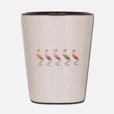March of the Tropical Flamingos Shot Glass