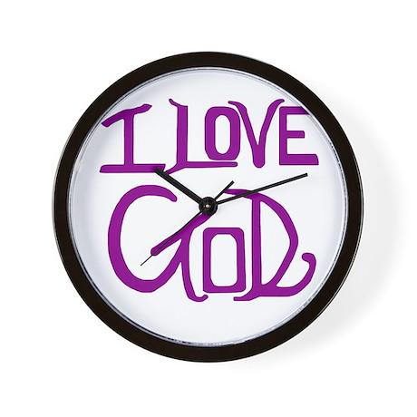 I Love God Wall Clock (Purple)