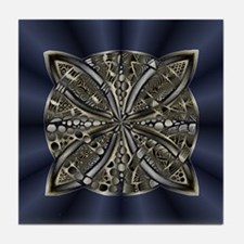 Blue Black Gold Silver Celtic Knot Tile Coaster