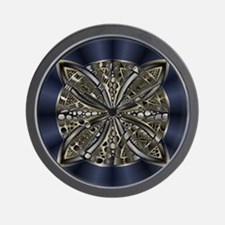 Blue Black Gold Silver Celtic Knot Wall Clock