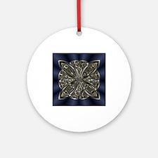 Blue Black Gold Silver Celtic Kno Ornament (Round)