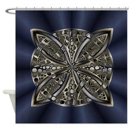 Blue Black Gold Silver Celtic Knot Shower Curtain By Admin