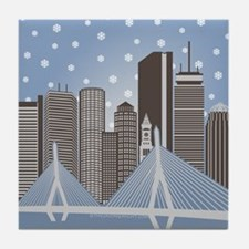 Boston Snowflakes Tile Coaster