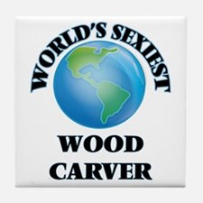 World's Sexiest Wood Carver Tile Coaster