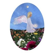 Birthday June Angel : Oval Ornament