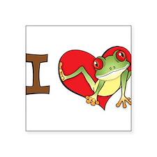 """Cute Kids frog Square Sticker 3"""" x 3"""""""