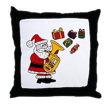 Santa Playing Tuba Throw Pillow