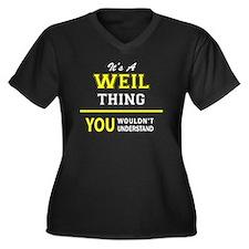 Cute Weil Women's Plus Size V-Neck Dark T-Shirt