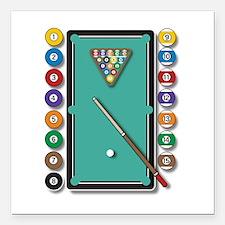 "Billiards Square Car Magnet 3"" x 3"""