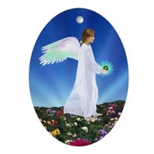 Birthday Aug. Angel : Oval Ornament