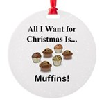 Christmas Muffins Round Ornament