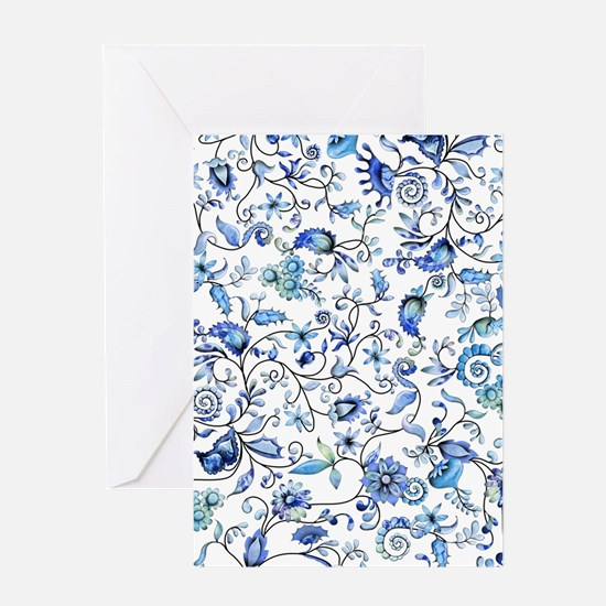 Blue Floral Greeting Card