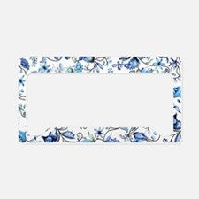 Blue Floral License Plate Holder
