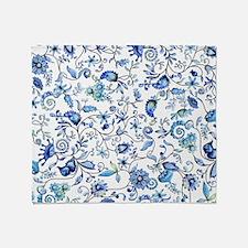 Blue Floral Throw Blanket