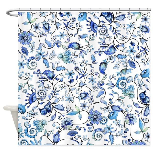 Blue Floral Shower Curtain By Zodiarts