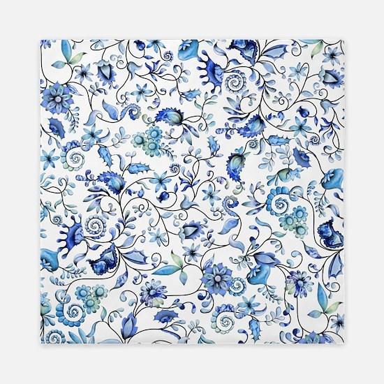 Blue Floral Queen Duvet