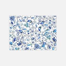Blue Floral 5'x7'Area Rug
