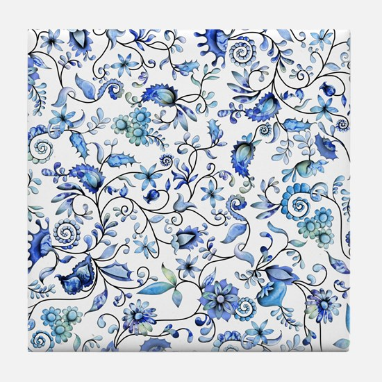 Blue Floral Tile Coaster