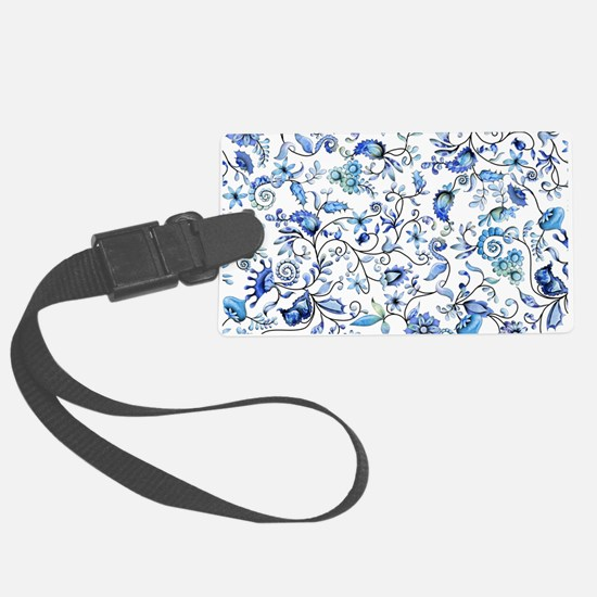 Blue Floral Luggage Tag