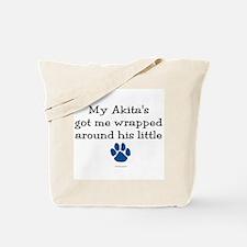 Wrapped Around His Paw (Akita) Tote Bag