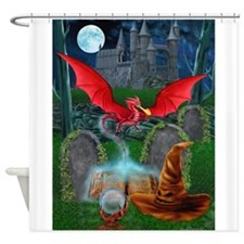 Cool Dragon on castle Shower Curtain