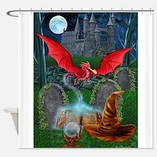 Unique Dragon on castle Shower Curtain