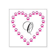 Pink Paw Heart Monogram Letter O Sticker