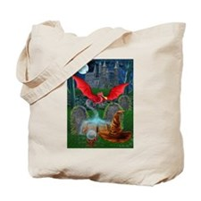 Funny Red dragon fire Tote Bag