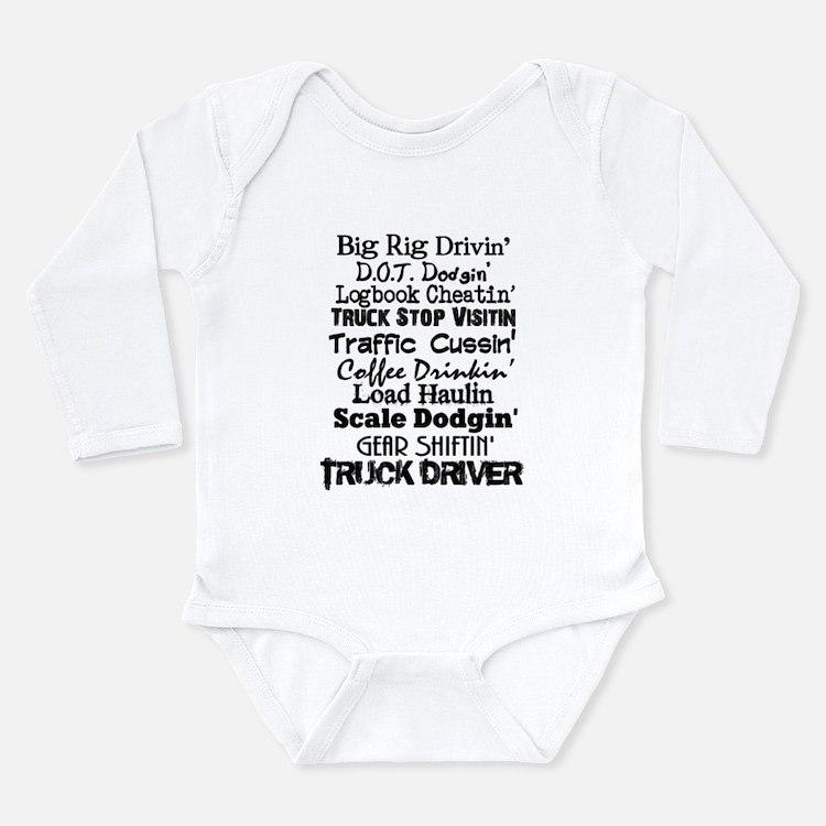 Big Rig Drivin' Long Sleeve Infant Bodysuit