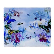 Take Flight Butterflies Orchids Throw Blanket