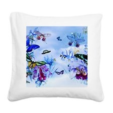 Take Flight Butterflies Orchi Square Canvas Pillow