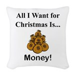 Christmas Money Woven Throw Pillow
