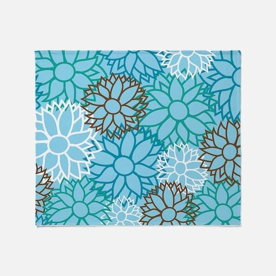 Floral Dahlia Flowers turquoise Throw Blanket