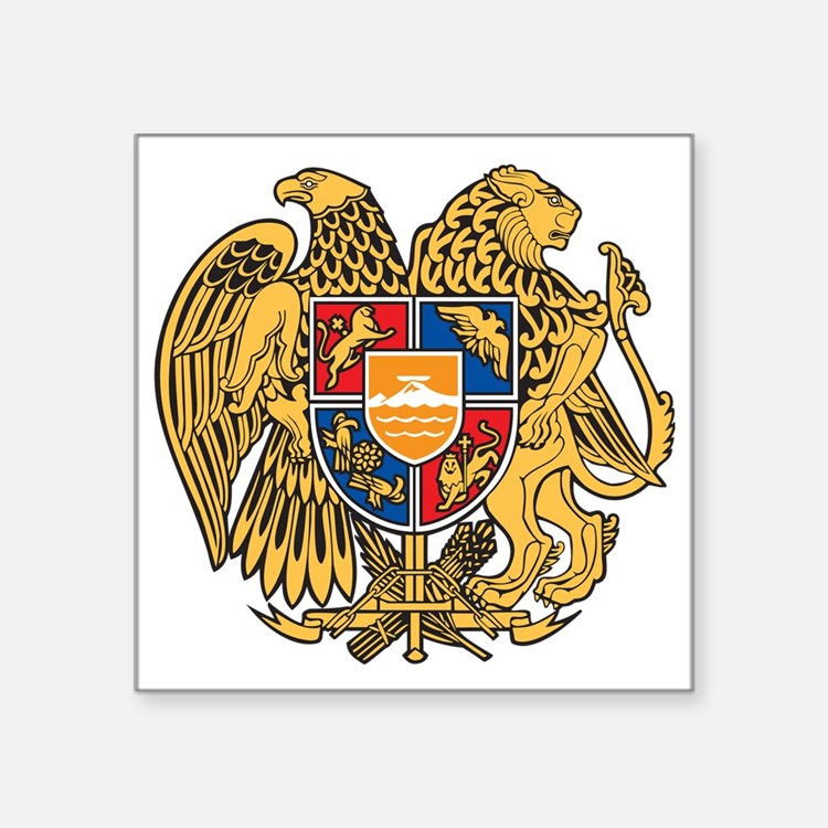 "Armenian Code Of Arms Square Sticker 3"" X 3&q"