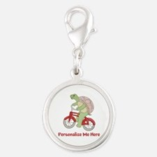 Personalized Bicycle Silver Round Charm