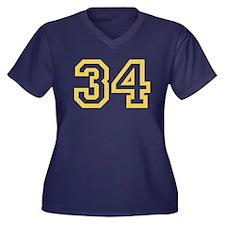 GOLD #34 Women's Plus Size V-Neck Dark T-Shirt