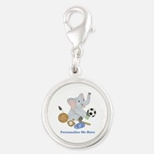 Personalized Sports - Elephant Silver Round Charm