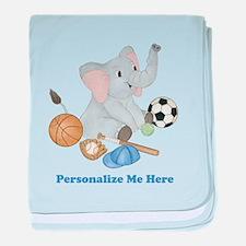 Personalized Sports - Elephant baby blanket