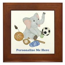 Personalized Sports - Elephant Framed Tile
