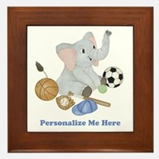 Personalized Sports - Elephant Framed Tile