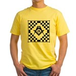 Masonic Tiles - Checkers Yellow T-Shirt