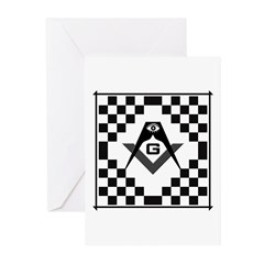 Masonic Tiles - Checkers Greeting Cards (Pk of 10)