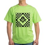 Masonic Tiles - Checkers Green T-Shirt