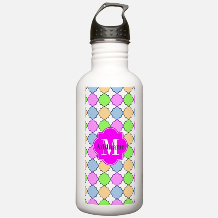Monogrammed Bright Pin Water Bottle