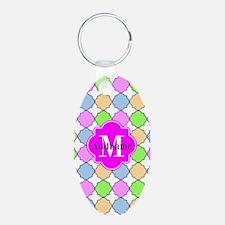 Monogrammed Bright Pink Qua Aluminum Oval Keychain