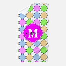 Monogrammed Bright Pink Quatrefoil Beach Towel