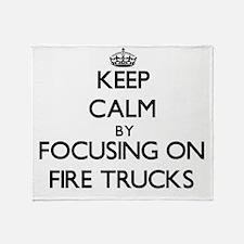 Keep Calm by focusing on Fire Trucks Throw Blanket