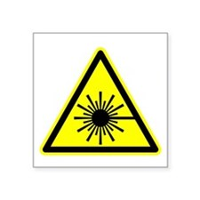 "Laser Warning Symbol Square Sticker 3"" X 3&qu"