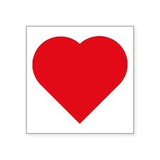 "Red Heart Shape Symbol Square Sticker 3"" X 3&"